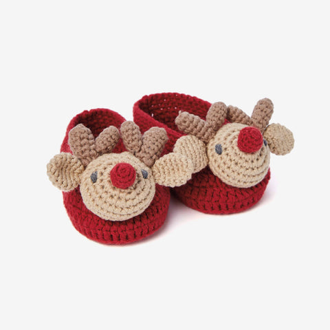 Reindeer Hand Crocheted Baby Booties