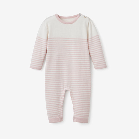 Blush Mini Stripe Cotton Knit Baby Jumpsuit