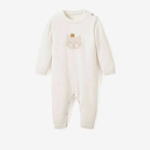 Princess Kitty Cotton Knit Baby Jumpsuit