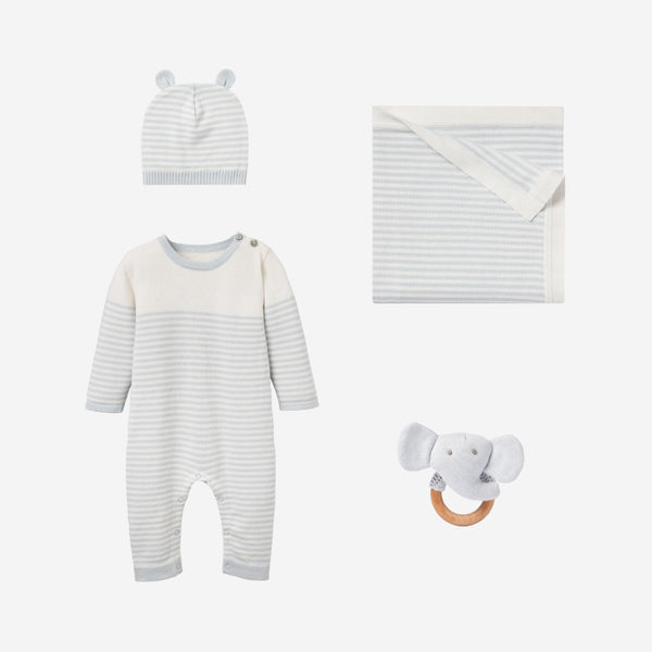 Cloud Blue Mini Stripe Jumpsuit Baby Gift Set