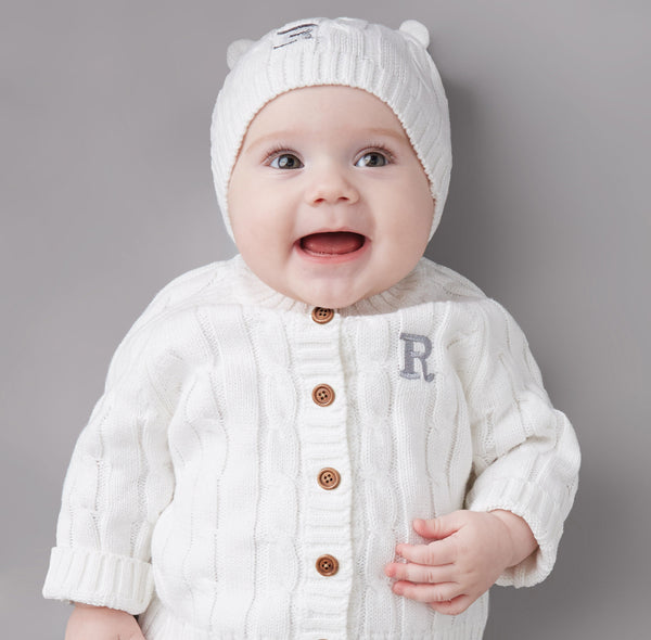 Cream Boxed Cable Knit Cardigan & Hat Baby Gift Set