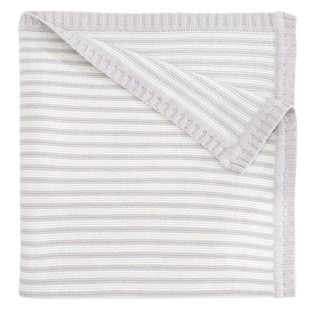 Light Gray Striped Baby Blanket