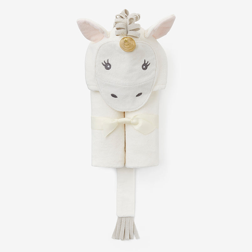 White Unicorn Hooded Baby Bath Wrap