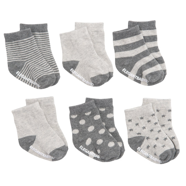 Gray Pattern Cotton Baby Socks 6 Pk