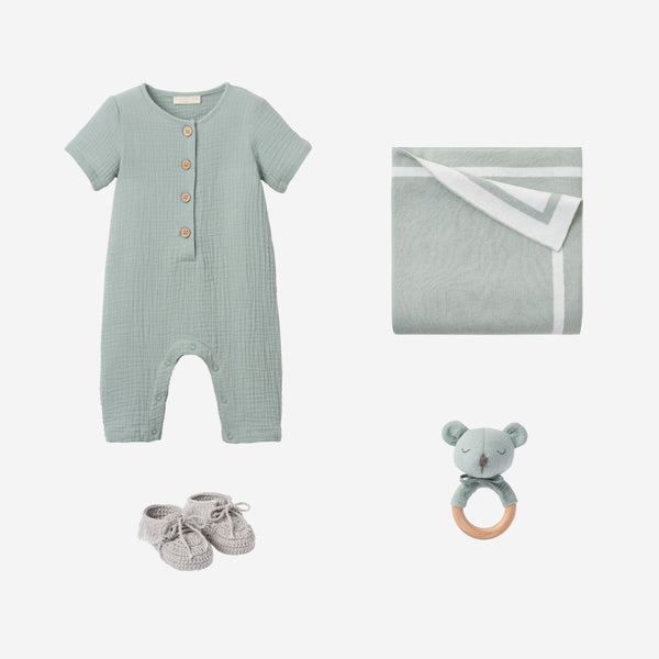 Light Sage Muslin Jumpsuit Baby Gift Set