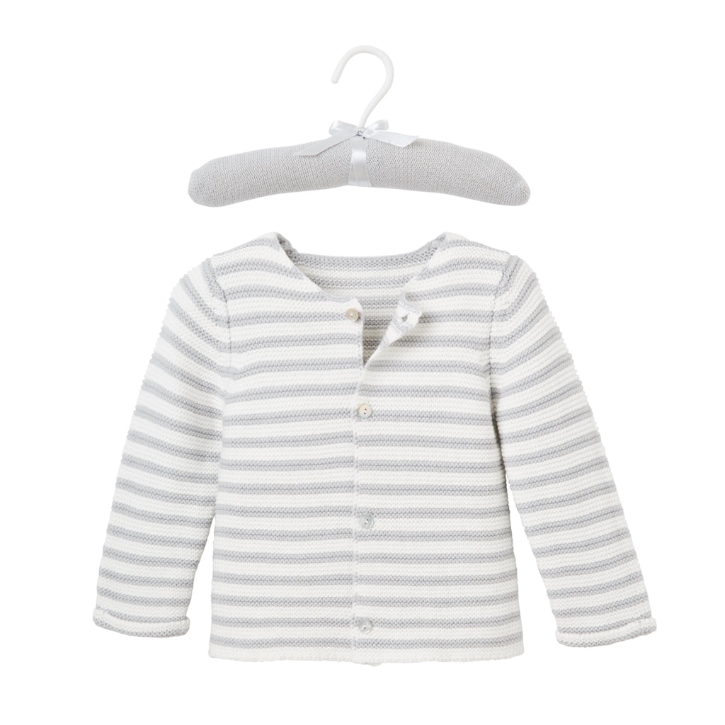 Petit Paris Gray Stripe Knit Baby Cardigan