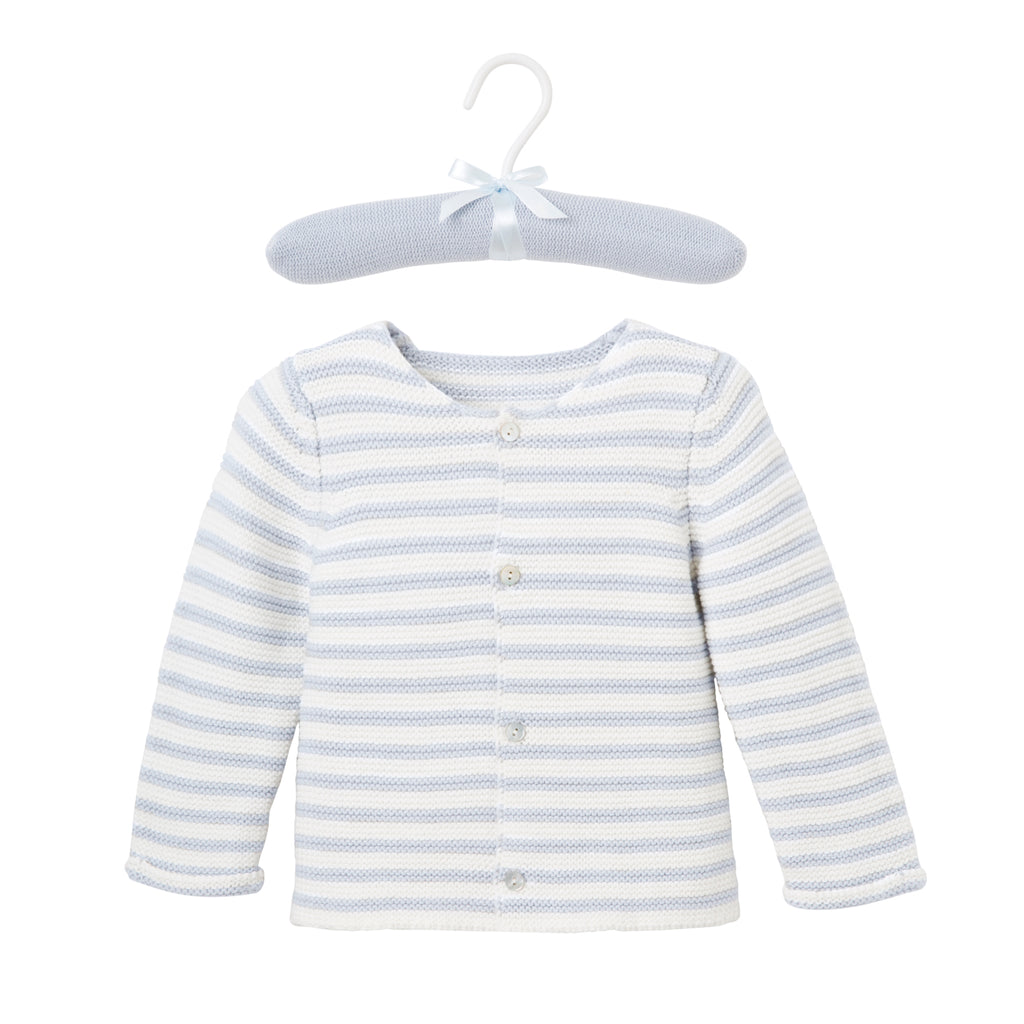 Blue Stripe Single Breast Knit Cardigan