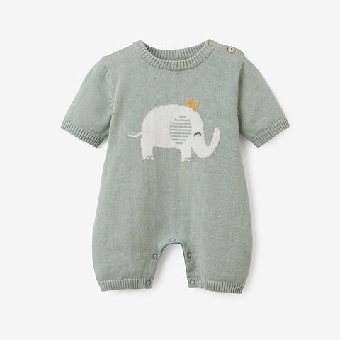 Prince Elephant Knit Shortall Baby Romper