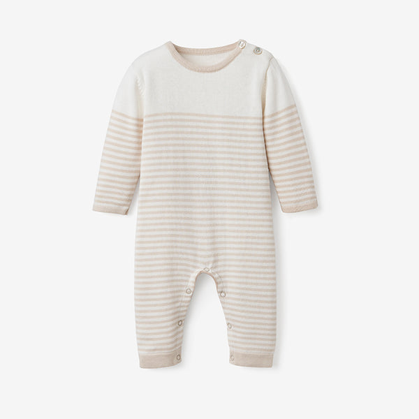 Wheat Mini Stripe Cotton Knit Baby Jumpsuit