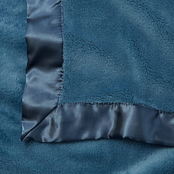 Dark Teal Coral Fleece Baby Stroller Blanket