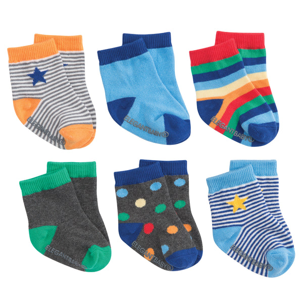 Bright Blue Cotton Baby Socks 6 Pk