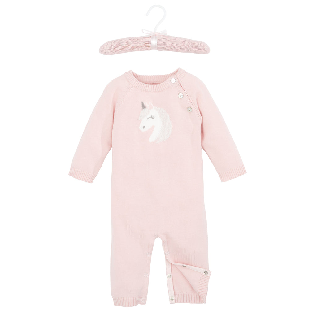 Pink Unicorn Knit Baby Jumpsuit