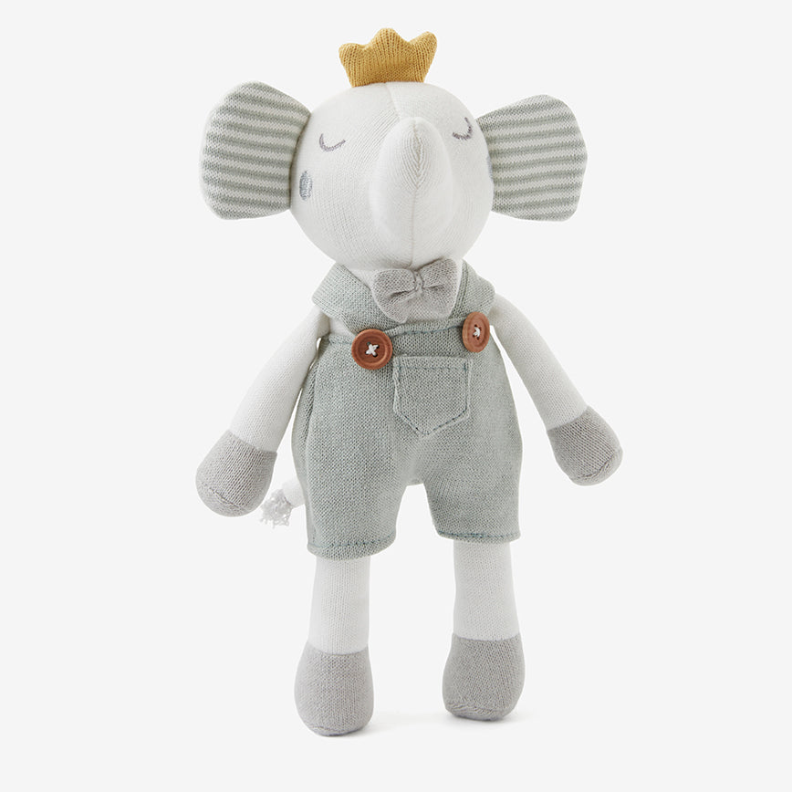 "10"" Prince Elephant Baby Knit Toy with Gift Box"
