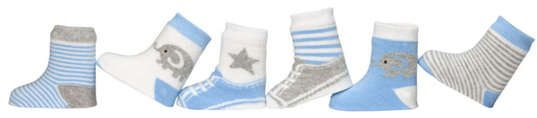 Blue Cutie Cotton Baby Socks 6Pk
