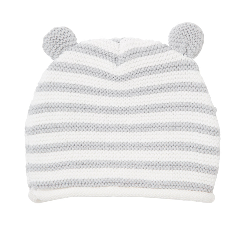 Gray Stripe Bear Hat with Ears