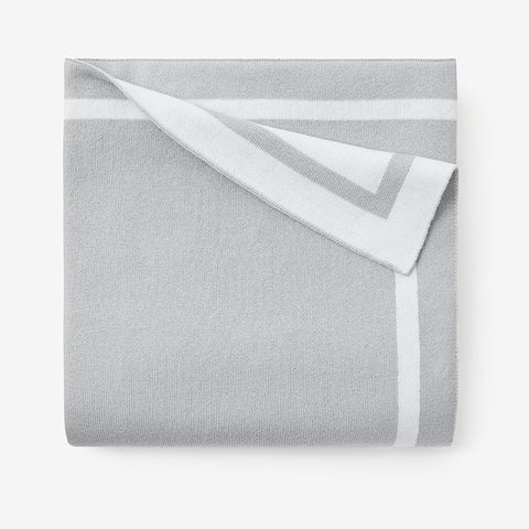 Dove Grey Tuxedo Stripe Reversible Cotton Knit Baby Blanket