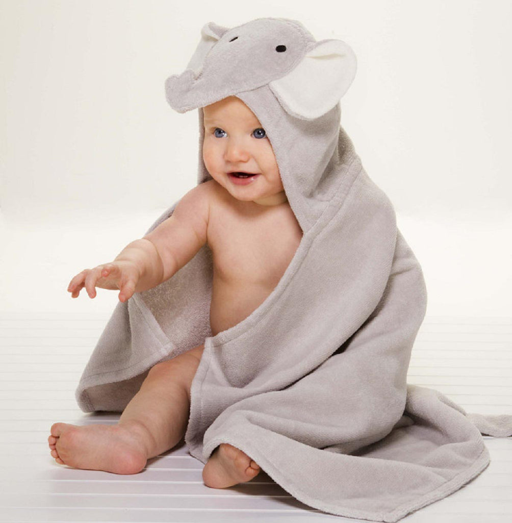 Gray Elephant Hooded Baby Bath Wrap
