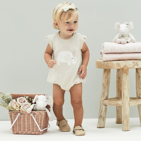 Elephant Princess Knit Bubble Romper