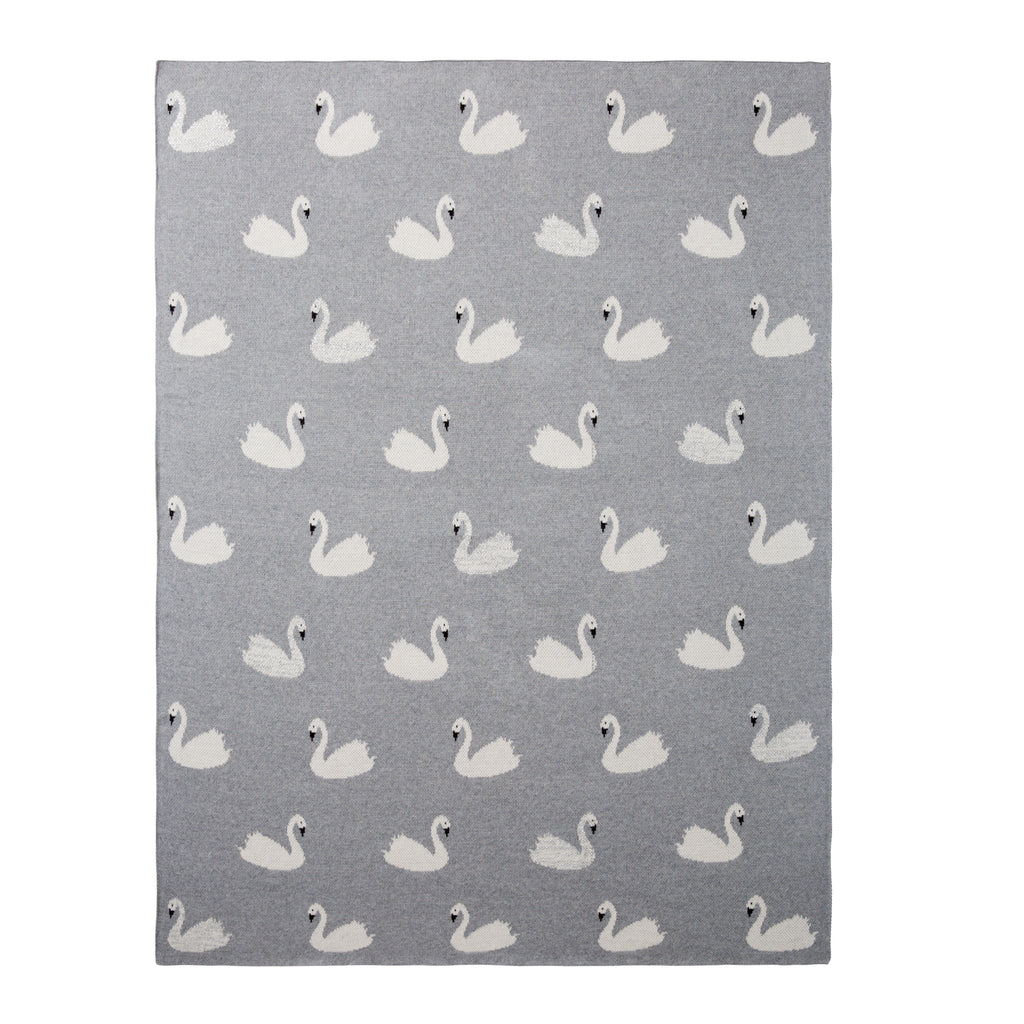Gray Swan Organic Cotton Knit Baby Blanket