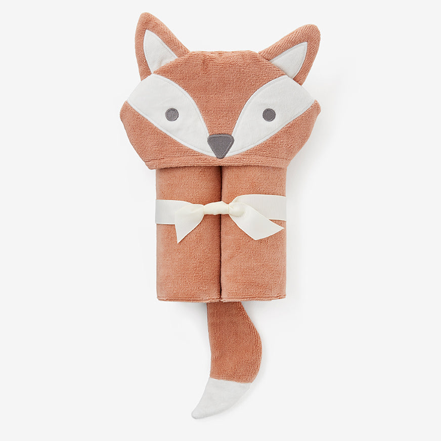 Rust Fox Hooded Baby Bath Wrap