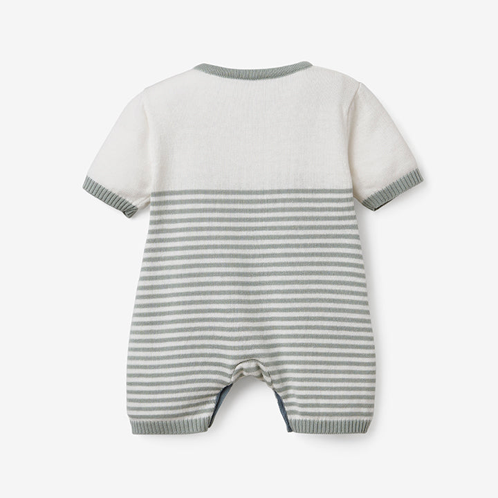Sage Mini Stripe Shortall Baby Romper