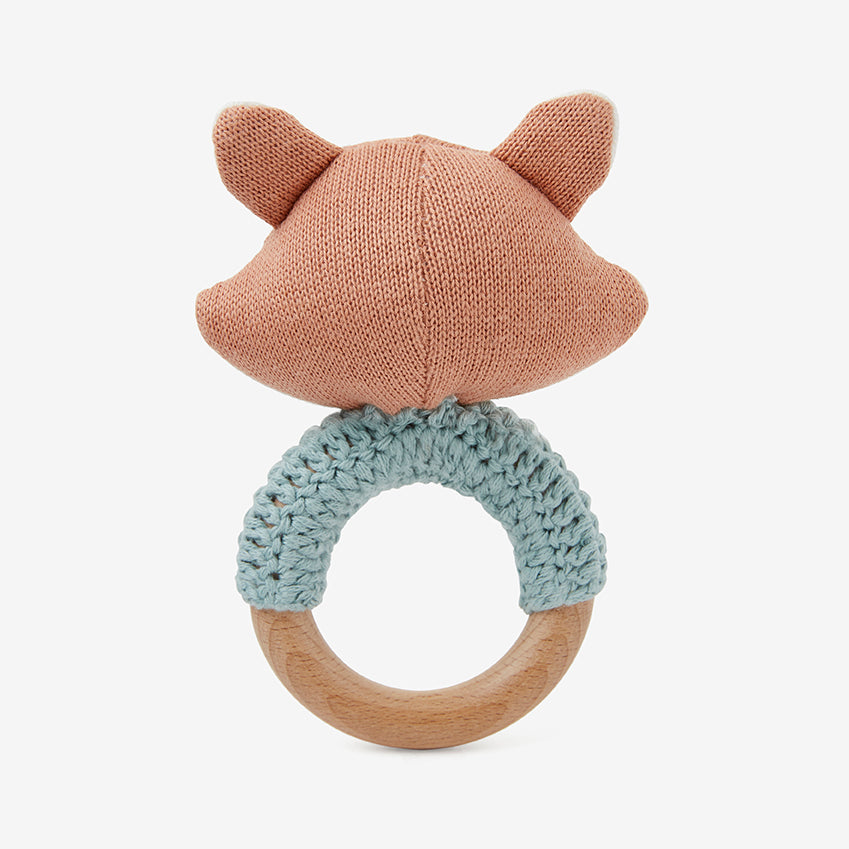 Felix Fox Wooden Baby Rattle