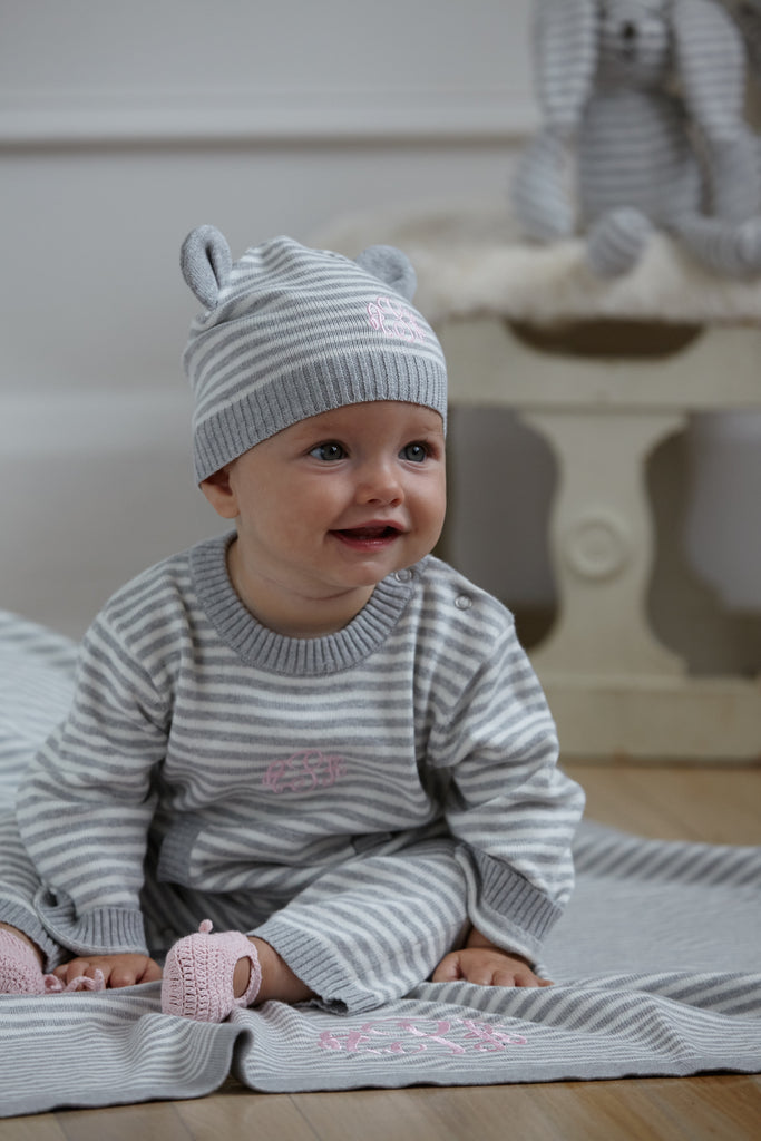 Gray Stripe Knit Hat with Ears