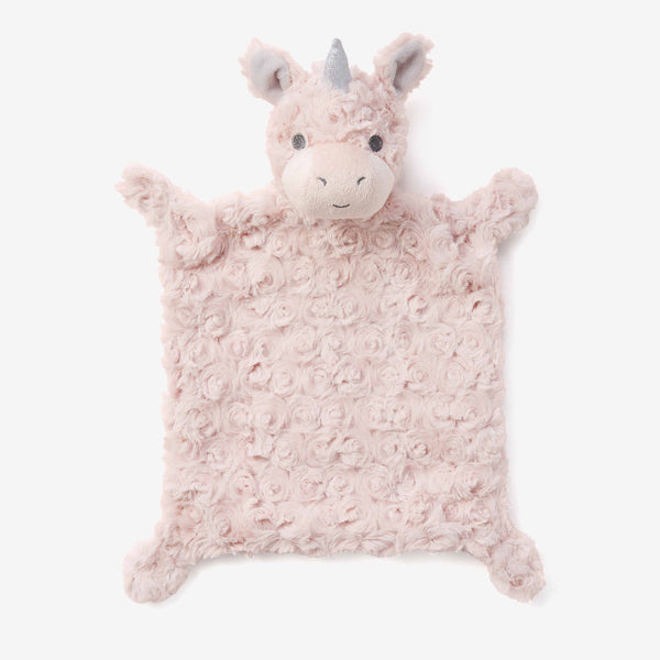 Pink Swirl Unicorn Flat Baby Security Blanket