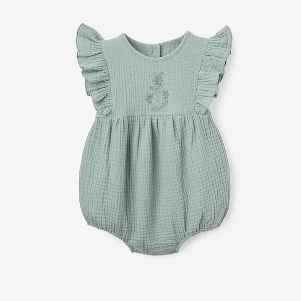 Light Sage Organic Muslin Bubble Baby Romper