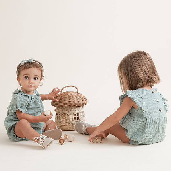 Light Sage Organic Muslin Collared Dress & Bloomer Set