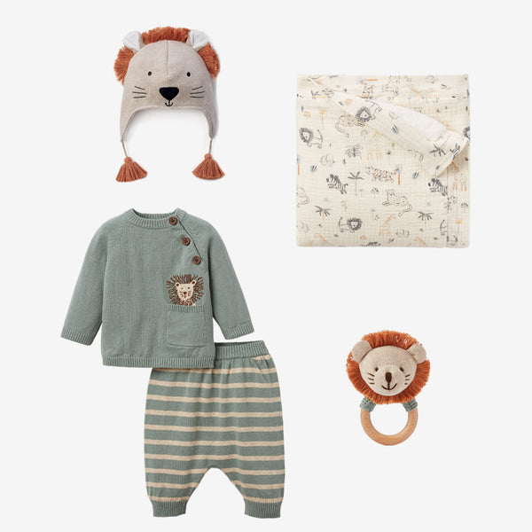 Lion Knit Sweater & Hat Baby Gift Set