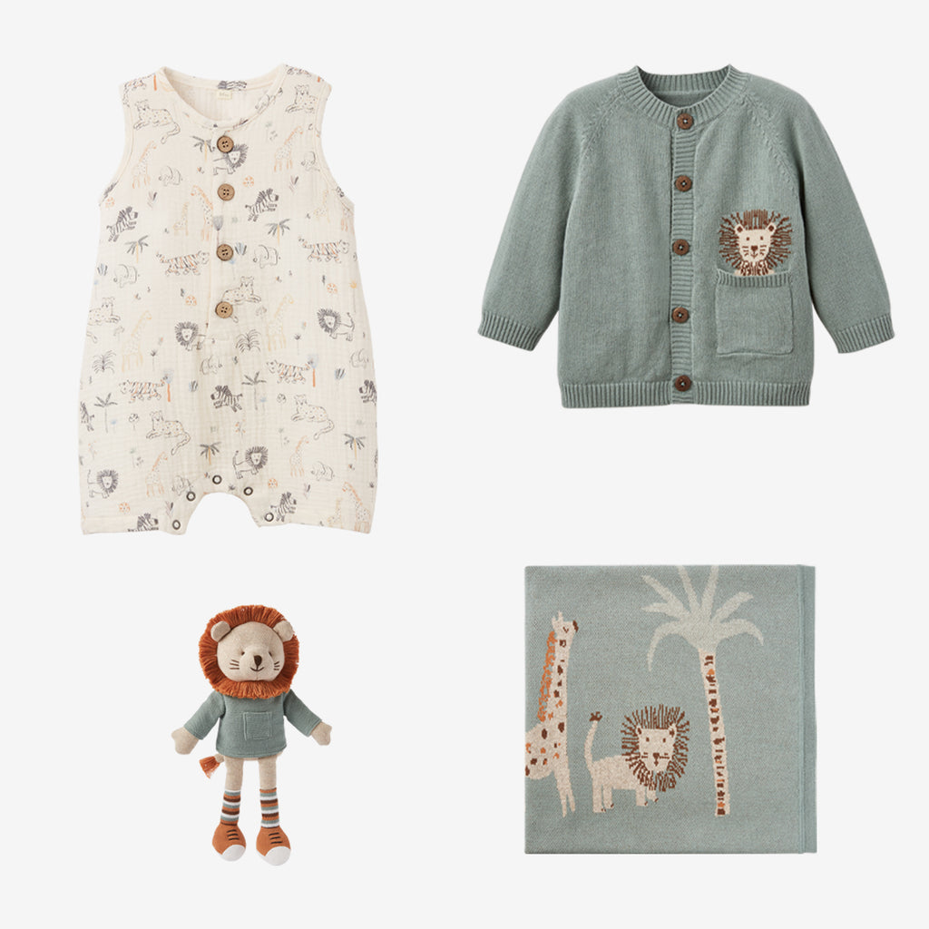 Lion Knit Cardigan & Muslin Jumpsuit Gift Set