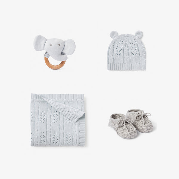 Pale Blue Knit Baby Layette Gift Set