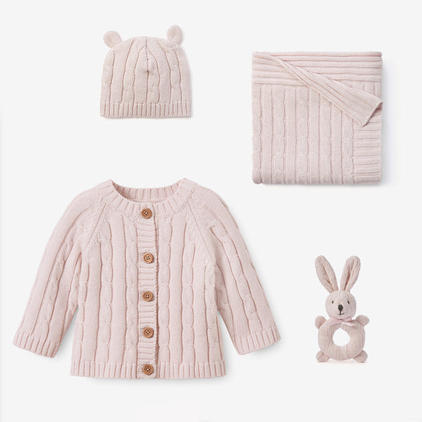 Chalk Pink Cable Knit Baby Gift Set