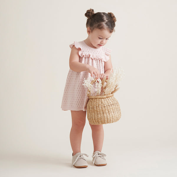 Blush Pointelle Flutter Sleeve Knit Baby Dress