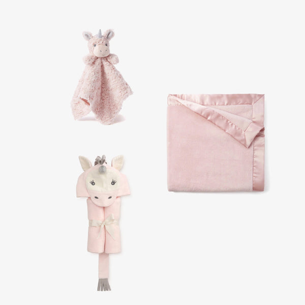 Plush Pink Unicorn Baby Gift Set