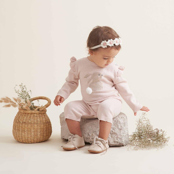 Bunny Cotton Knit Baby Jumpsuit
