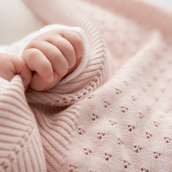 Blush Pointelle Cotton Knit Baby Blanket