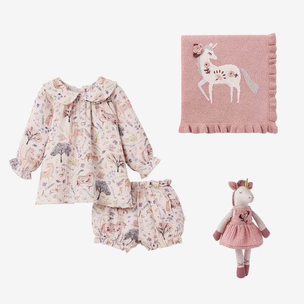 Unicorn Print Dress Baby Gift Set