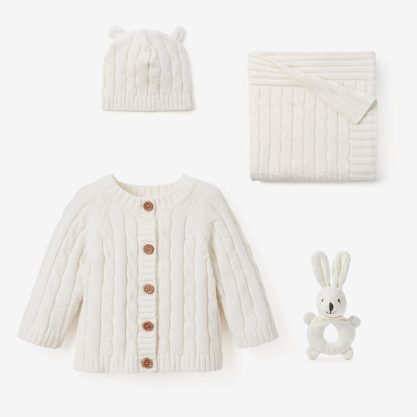 Cream Cable Knit Baby Gift Set