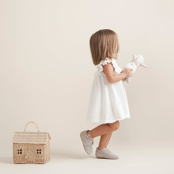 White Pointelle Flutter Sleeve Knit Baby Dress