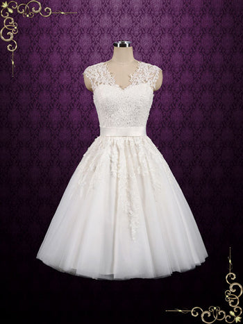 Retro Short Tea Length Wedding Gowns
