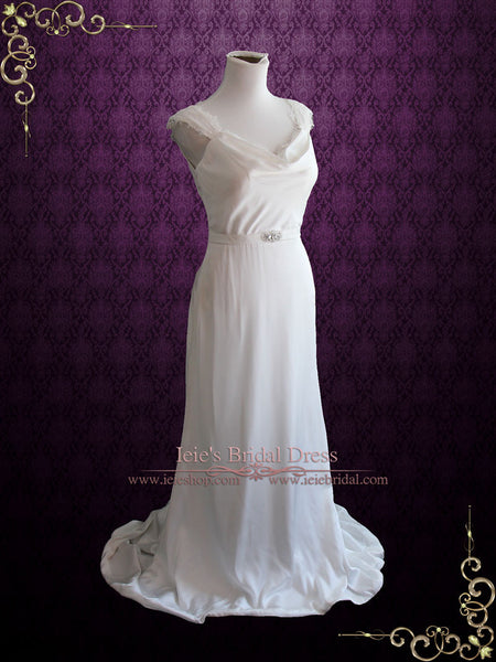 Cowl Neck Modest Wedding Dress