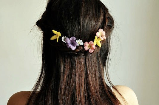 Flowers in Braided Hair