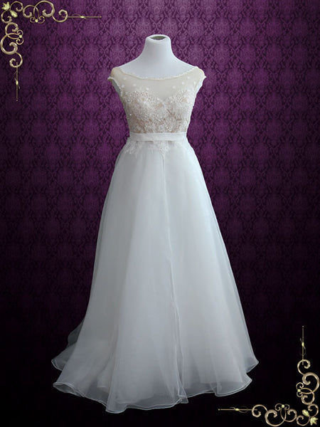 Vintage Lace Organza Beach Wedding Dress