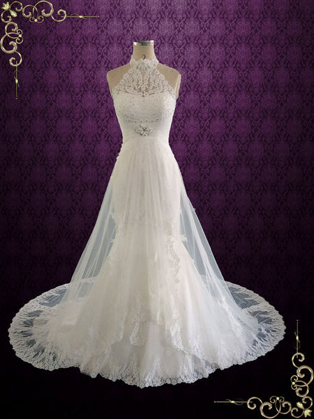 Halter Lace Wedding Dress with Illusion Neckline