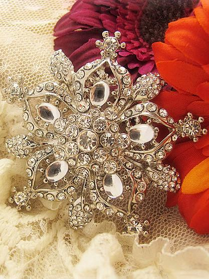 Silver Star Crystal Bridal Brooch