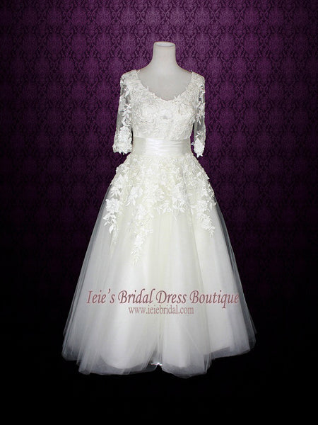 Tea Length Long Sleeve Retro Wedding Dress