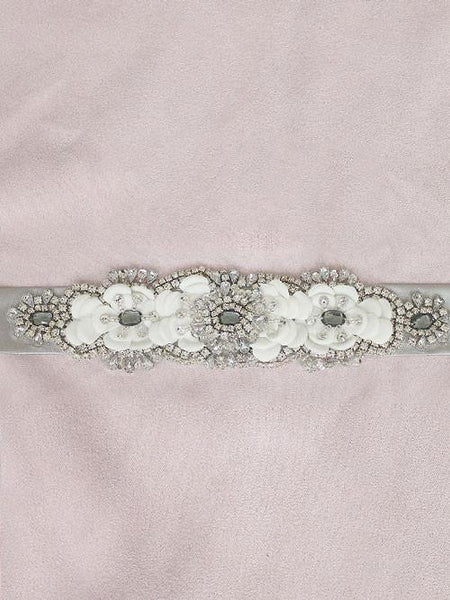 Silver Jeweled Crystal Sash