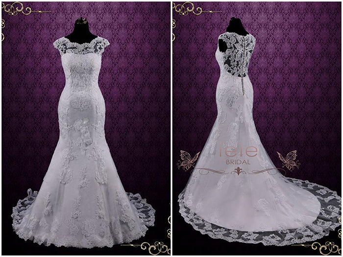 Modest Vintage Lace Cap Sleeve Wedding Dress